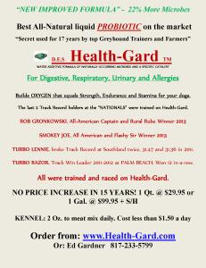 Health Gard Greyhounds TGA